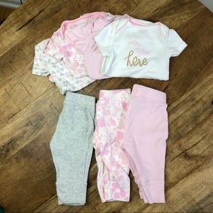 Cloud Island Onesies Pants Baby Girl Pink 0-3 mo